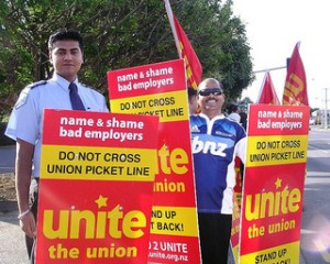 FIRST Security Guards picket their employer during a March 2011 picket