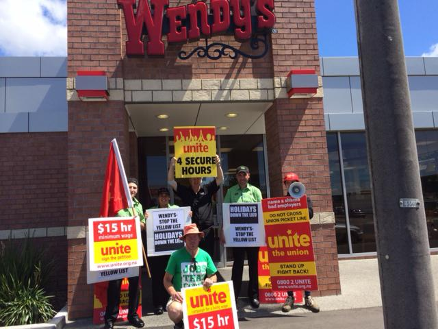 strike at wendy s palmerston north today unitenews